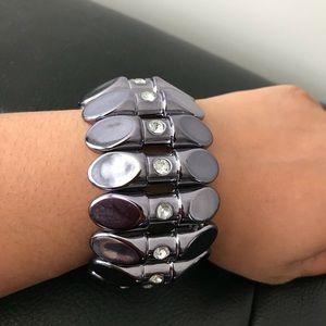 Gunmetal Stretch Cuff Bracelet